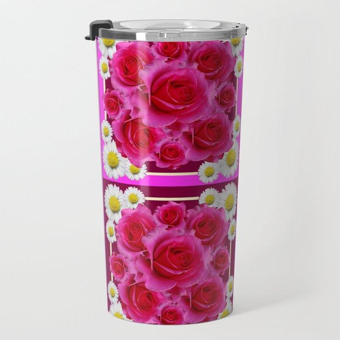 Fuchsia Rose Bouquet Garden Shasta Daisies Art Panels Grey Abstract Travel Mug