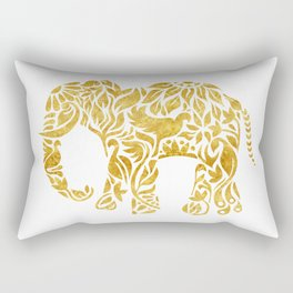 Floral Elephant in Gold Rectangular Pillow