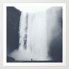 Dark & Eerie Waterfall in Nature Art Print