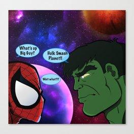 Hulk and Spidey! Canvas Print