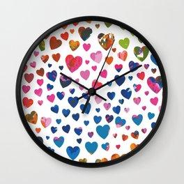 Abstract Hearts Wall Clock