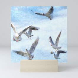 Gulls In Flight Watercolor Mini Art Print