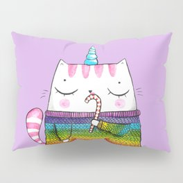 Rainbow Caticorn eating a candy cane Pillow Sham