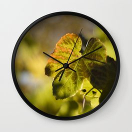 Autumn Grape Leaf Wall Clock
