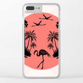 Malibu Summer - Mid-Century Modern Living-Coral Clear iPhone Case