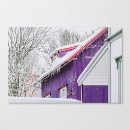 Purple Wooden House in Reykjavik Canvas Print