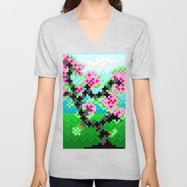 Pixel Art Bonsai Tree Unisex V-Neck
