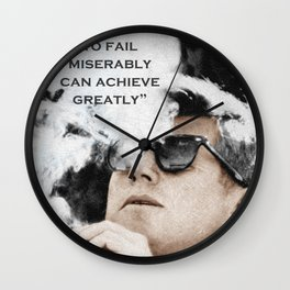 John F Kennedy Cigar and Sunglasses 3 And Quote Wall Clock