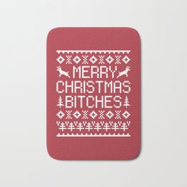 Merry Christmas Bitches Funny Xmas Quote Bath Mat