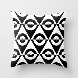 Black & White Checkered Triangle & Circles 60's Two Tone Ska Pattern Throw Pillow