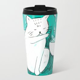Turquoise Cat Travel Mug