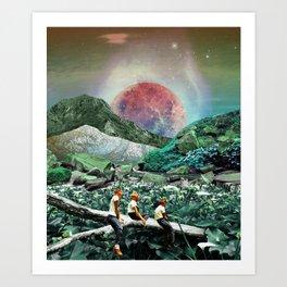 Playtime in space valley Art Print