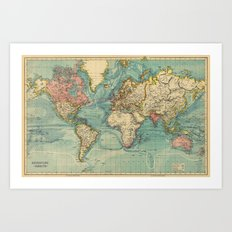 Adventure Awaits (World Map) Art Print