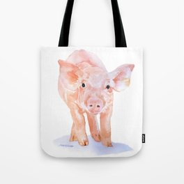 Pig Watercolor Painting Tote Bag