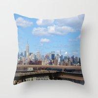 manhattan Throw Pillows featuring Manhattan by Sadie Mae