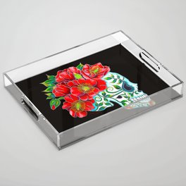 Sugar Skull with Red Poppies Acrylic Tray