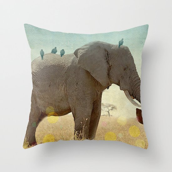 along for the ride _ an elephant and his feathered friends Throw Pillow