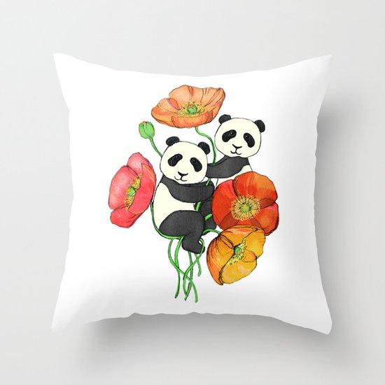 Poppies & Pandas Throw Pillow