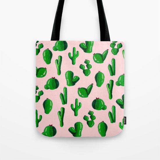 Pink Cactus Tote Bag