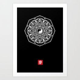Taoist Mandala - White on Black Art Print