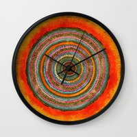 tree rings Wall Clocks featuring tree rings by Asja Boros