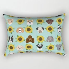 Dogs and cats pet friendly sunflowers animal lover gifts dog breeds cat person Rectangular Pillow
