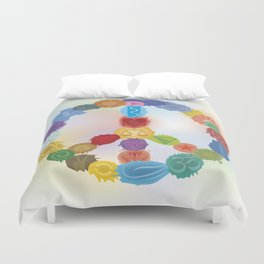 Peace Sign In Colors Duvet Cover
