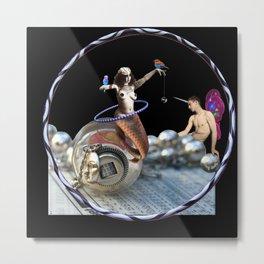 The Fiddlebittery Mermaid Hooper & Her Fairy Unicorn Boy Metal Print
