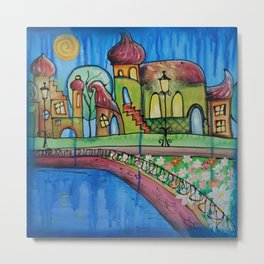 Landscape Painting Fairy town Acrylic S15 Contemporary Nursery Cityscape art for baby children kids Metal Print