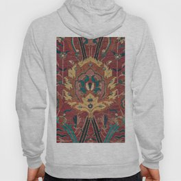 Flowery Arabic Rug II // 17th Century Colorful Plum Red Light Teal Sapphire Navy Blue Ornate Pattern Hoody