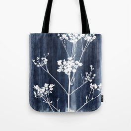 Blue watercolor wash flower silhouette Tote Bag