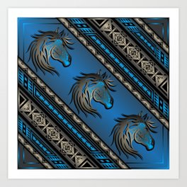 Horse Nation (Blue) Art Print