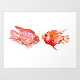 Two Love Fish, Fish art, Love, aquarium design, Parrot Cichlids Art Print