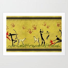 Cavemen yellow Art Print