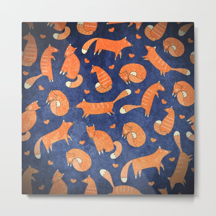 Foxes at Night - Cute Fox Pattern Metal Print