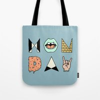 garfield Tote Bags featuring MONDAY by Wesley Bird