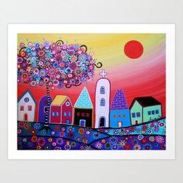 Whimsical Flower Garden Painting Art Print