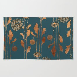 Art Deco Copper Flowers Rug