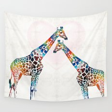Colorful Giraffe Art - I've Got Your Back - By Sharon Cummings Wall Tapestry
