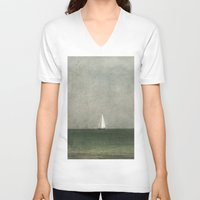 sailing V-neck T-shirts featuring Sailing by Honey Malek