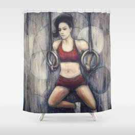 Strength and Beauty // Camille Bazinet Leblanc CrossFit Champion Athlete Woman Power Gymnastics Gym Shower Curtain