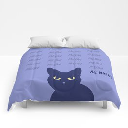 Meow all night long blue cat Comforters