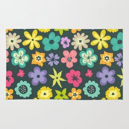 Artistic hand painted teal yellow violet floral illustration Rug