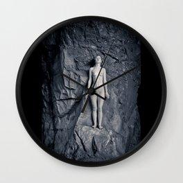 rock climbing in moon light Wall Clock
