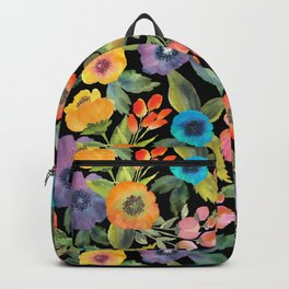 Poppies on Black Backpack