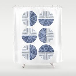 Labyrinth - Navy Shower Curtain
