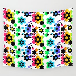 Rainbow Floral Abstract Flower Wall Tapestry