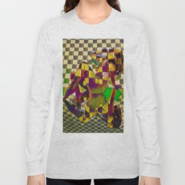 6097-KMA Checkerboard Nude Sitting on Mirror Long Sleeve T-shirt