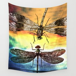 DRAGONFLY meets a Friend Wall Tapestry