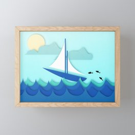 Paper Boat Framed Mini Art Print